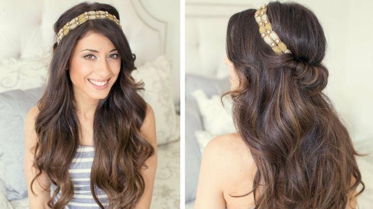 die 25 besten ideen zu frisuren mit haarband auf pinterest haarband frisur gewelltes haar. Black Bedroom Furniture Sets. Home Design Ideas