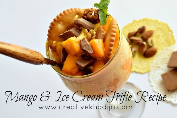 Mango Fruit and Ice Cream Trifle Making Recipe-Video. How to make fruit trifle in a glass with cracker biscuits. Ramadan Recipes & food video tutorials.