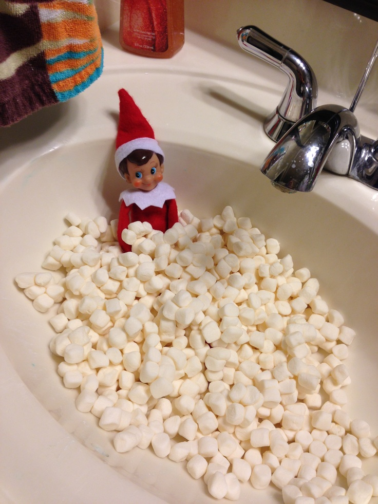 elf on a shelf idea marshmallow bath i did it
