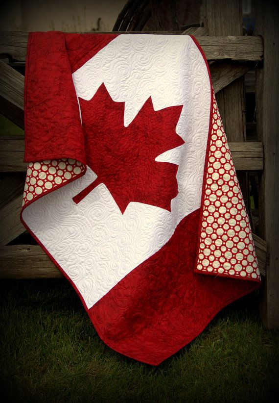 Canada Baby  quilt - Canadian flag - national pride in red and white - true north strong and free