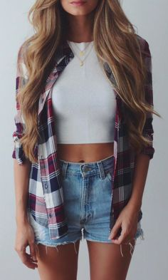 Checked shirt over a crop top and shorts - nice casual look