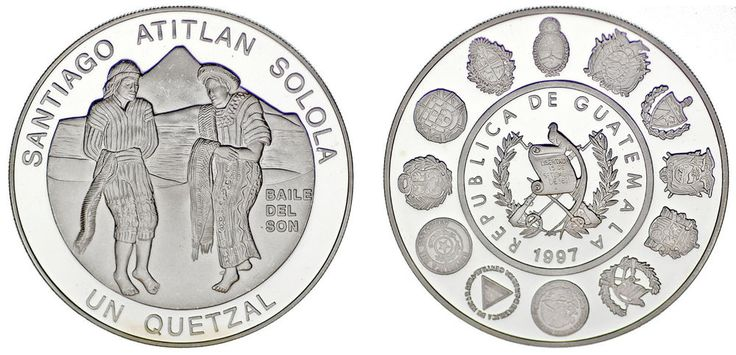 1 SILVER QUETZAL/PLATA. GUATEMALA. BAILE SON. SERIE IBEROAMERICANA. 1997. PROOF.
