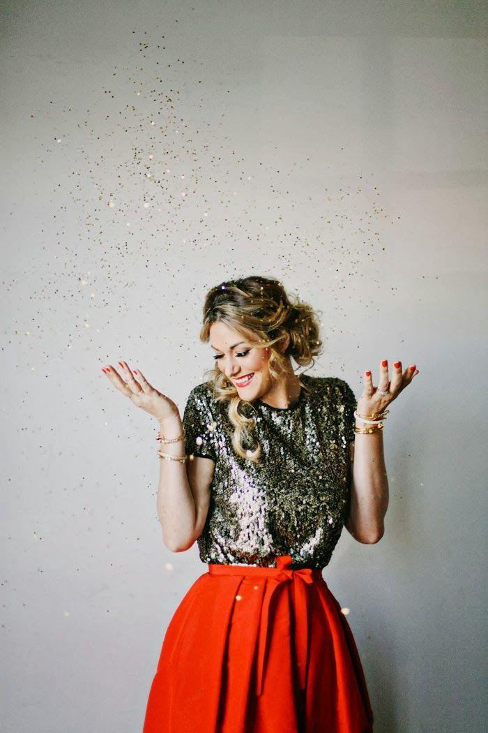 Caitlin Lindquist, A Little Dash of Darling, Dash of Darling, Tibi Silk Faille, Tibi Skirt, Full Skirt, Tibi, Sequin, Glitter, Confetti, Red...