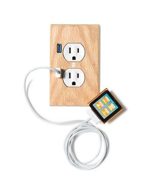 U-Socket. This upgraded outlet, which fits a standard socket and is easy to install, has two USB ports, so you can change your iPod without hogging a plug. More power to you!