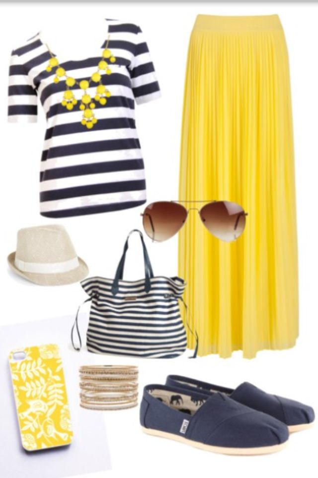 Navy & white stripes with yellow maxi skirt