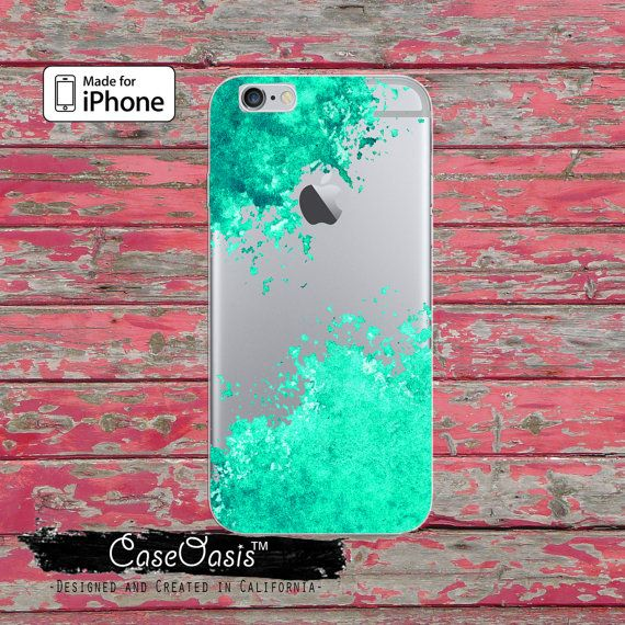 Mint Green Paint Splatter Watercolor Art Tumblr Clear Rubber Phone Case For iPhone 6, iPhone 6 Plus, iPhone 5/5s Rubber, and iPhone 5c Case