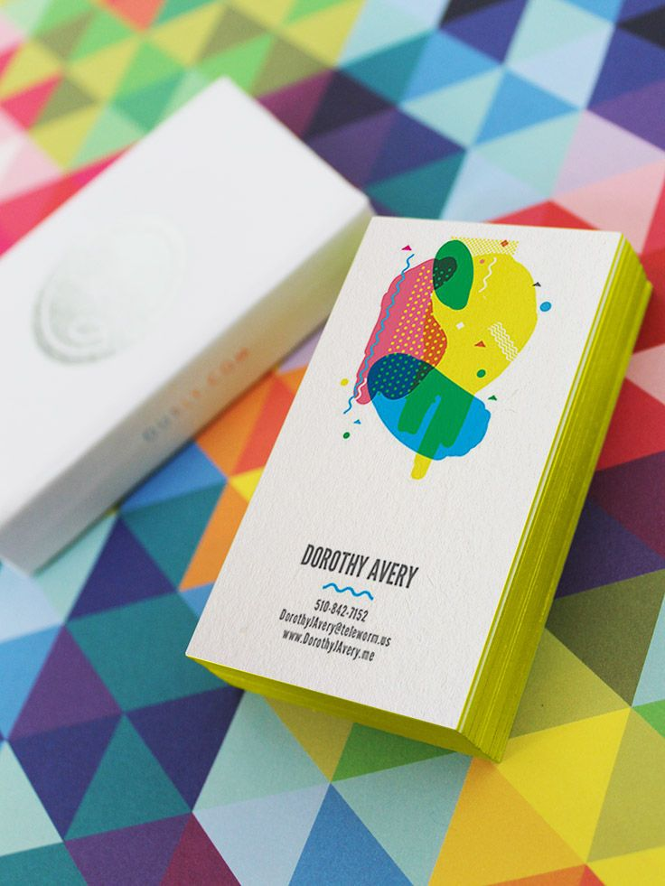 Fairy Tale Edge Painted Business Cards with Lime Edge by Oubly.com