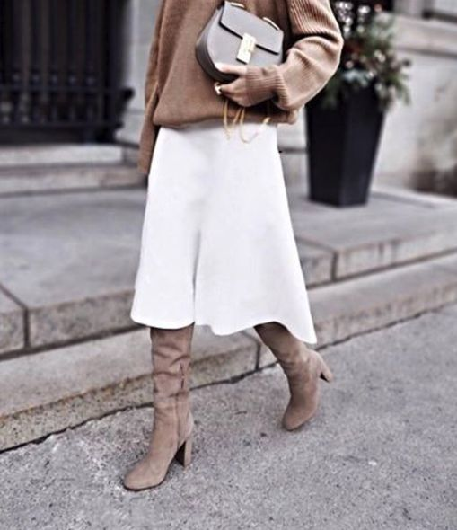Midi skirt with tall boots