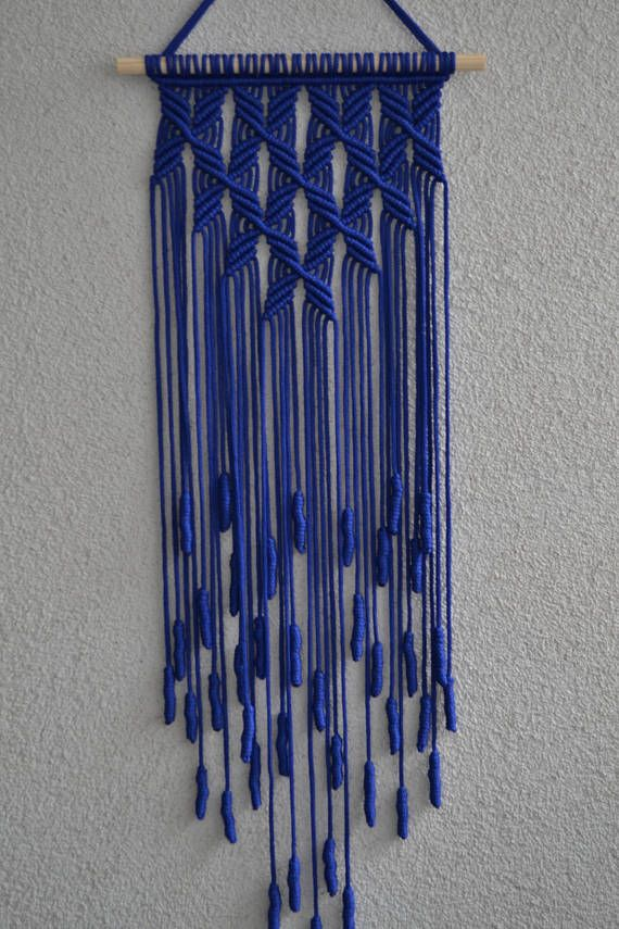 Wall panels handmade macramé technique. Material: 100% polyester. Color: blue. Strap: natural wood - pine. Dimensions: The length from the wooden plank to the bottom, including the thread - 82cm / 32.3 inches Width - 25cm / 9.8 inches