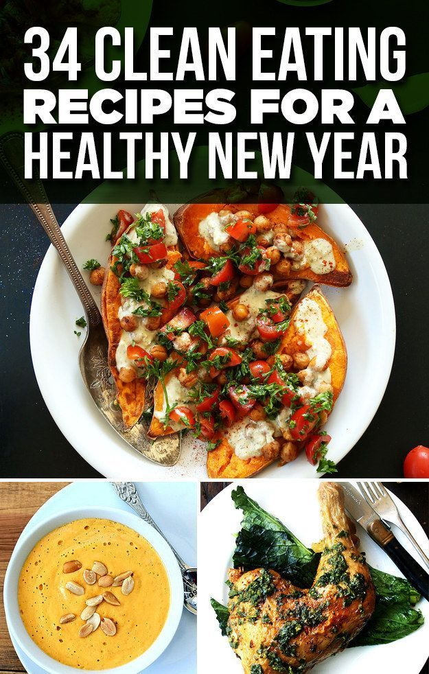 34 Clean Eating Recipes For A Healthy New Year --- Everything looks annoying to make, but perhaps ill throw an avocado into something.