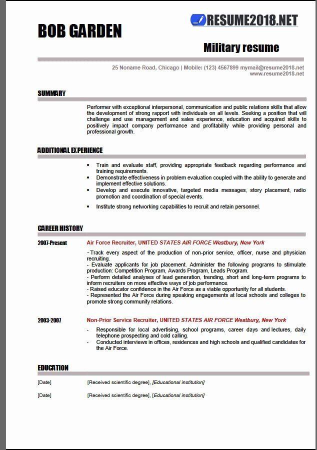 military resume template microsoft word fresh military