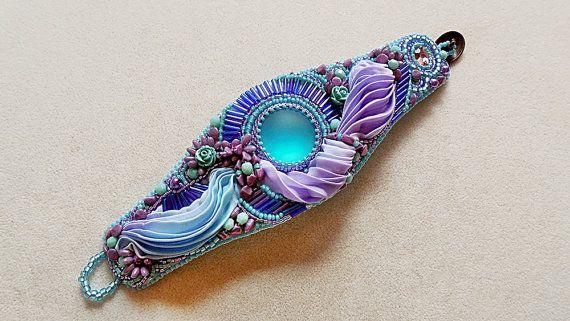 Bead embroidery jewelry, bracelet, shibori silk, Lunasoft cabochon, swarovski , japanese beads
