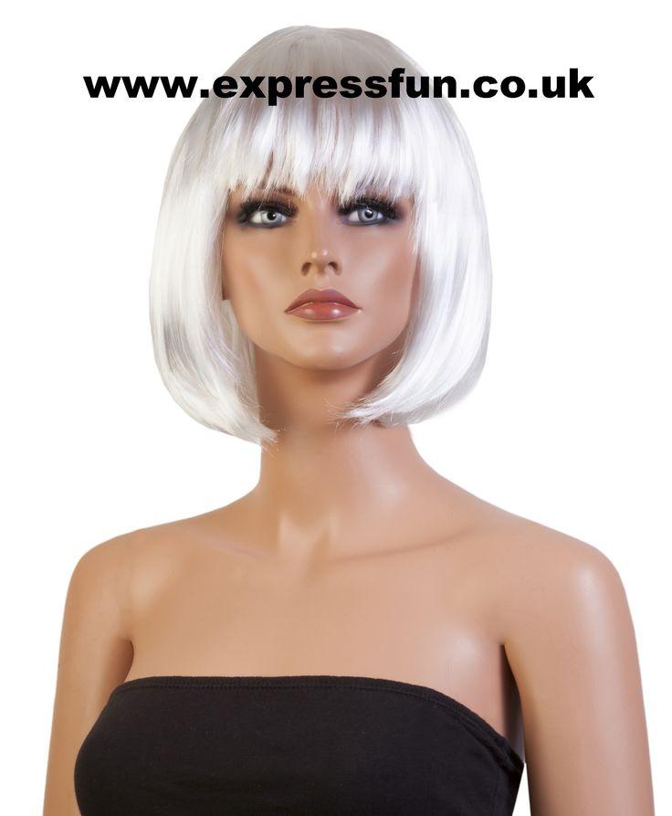 "WHITE: Shoulder Length ""Bob"" Style Fancy Dress Wigs"