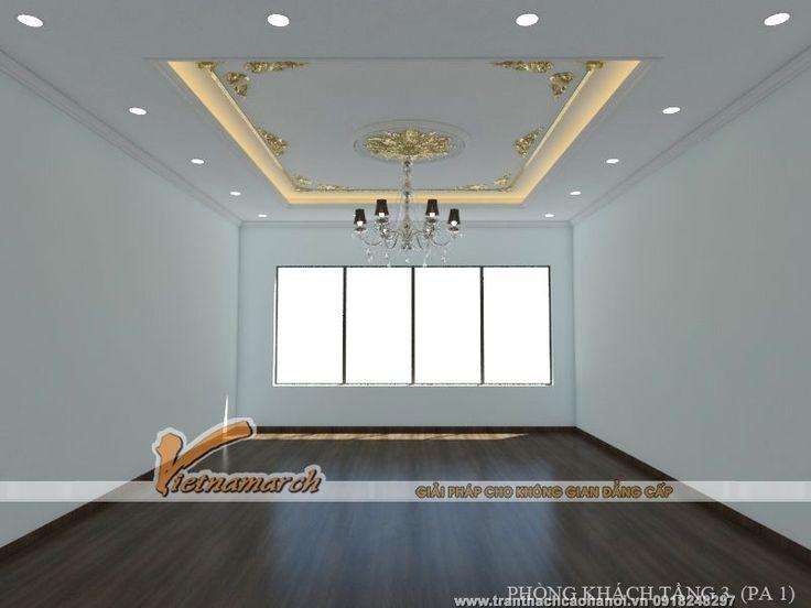Trần thạch cao, phào chỉ trang trí và hệ thống đèn điện trần được thiết kế hoàn hảo cho nhà chú Nhận