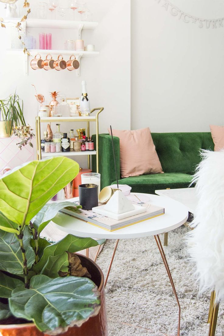 Emerald and blush apartment.