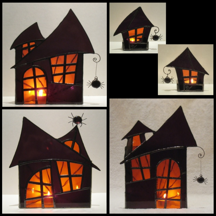 Halloween- slab project could be adapted to Christmas candleholder