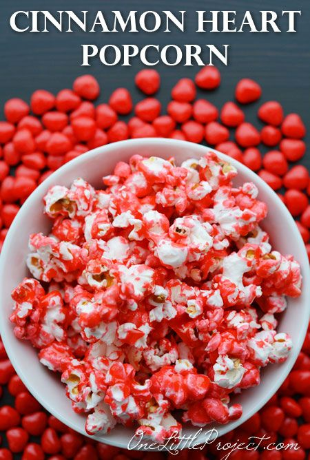 Cinnamon Heart Popcorn - This recipe is quick, easy and delicious. What a fun way to use up extra cinnamon hearts!