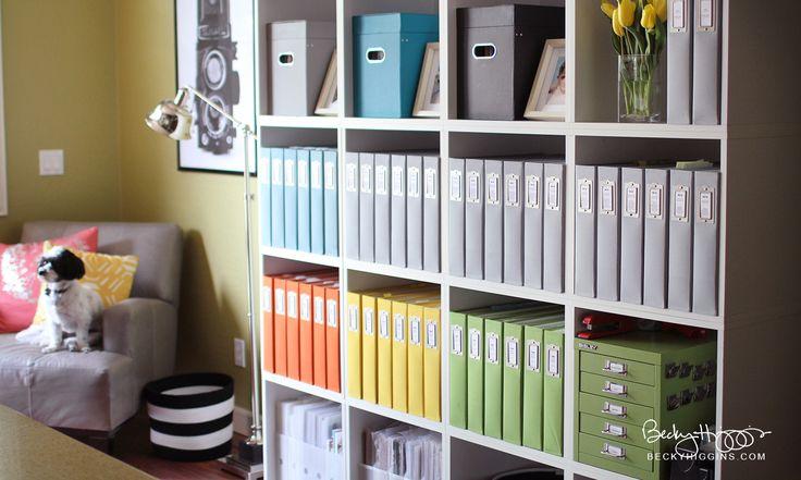 Becky Higgins office tour (kids' albums - each child has a color)