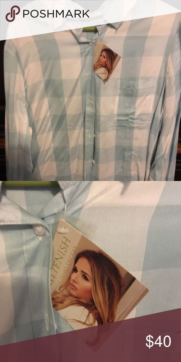 """Jessie James Decker baby blue plaid flannel Jessie James decker """"Mrs. Decker"""". In baby blue plaid flannel. Never worn. Kittenish Tops Button Down Shirts"""