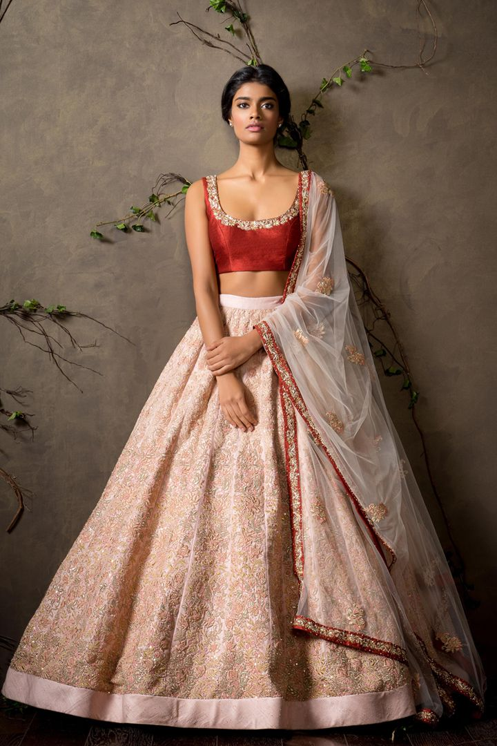 Shyamal & Bhumika Light Pink Embroidered #Lehenga With Red #Blouse.