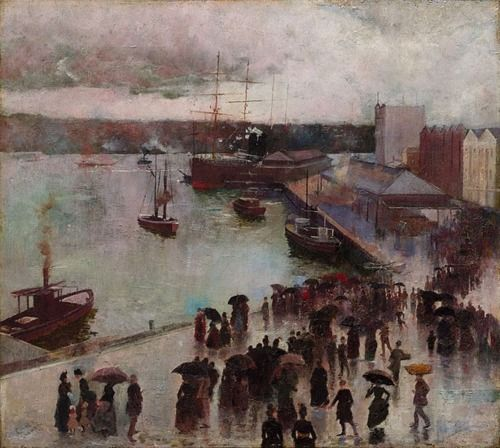 Charles Conder. Departure of the Orient Circular Quay.