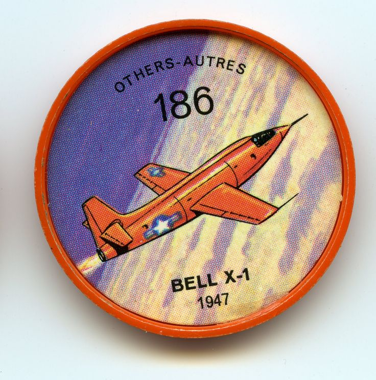 Jell-O Coin 186 - Bell X-1 (1947) - First rocket-propelled aircraft of the U.S. Air Force was the Bell X-1, designed as a flying laboratory to investigate problems of supersonic flight. Early models of the bullet-shaped X-1 were launched from the bomb bay of a 8-29. Later models took off on their own power. Some 1,000 pounds of instruments were carried. Specifications: Wingspan 28 feet. Length 31 feet. Weight 13,400 pounds. Speed 1,700 mph.