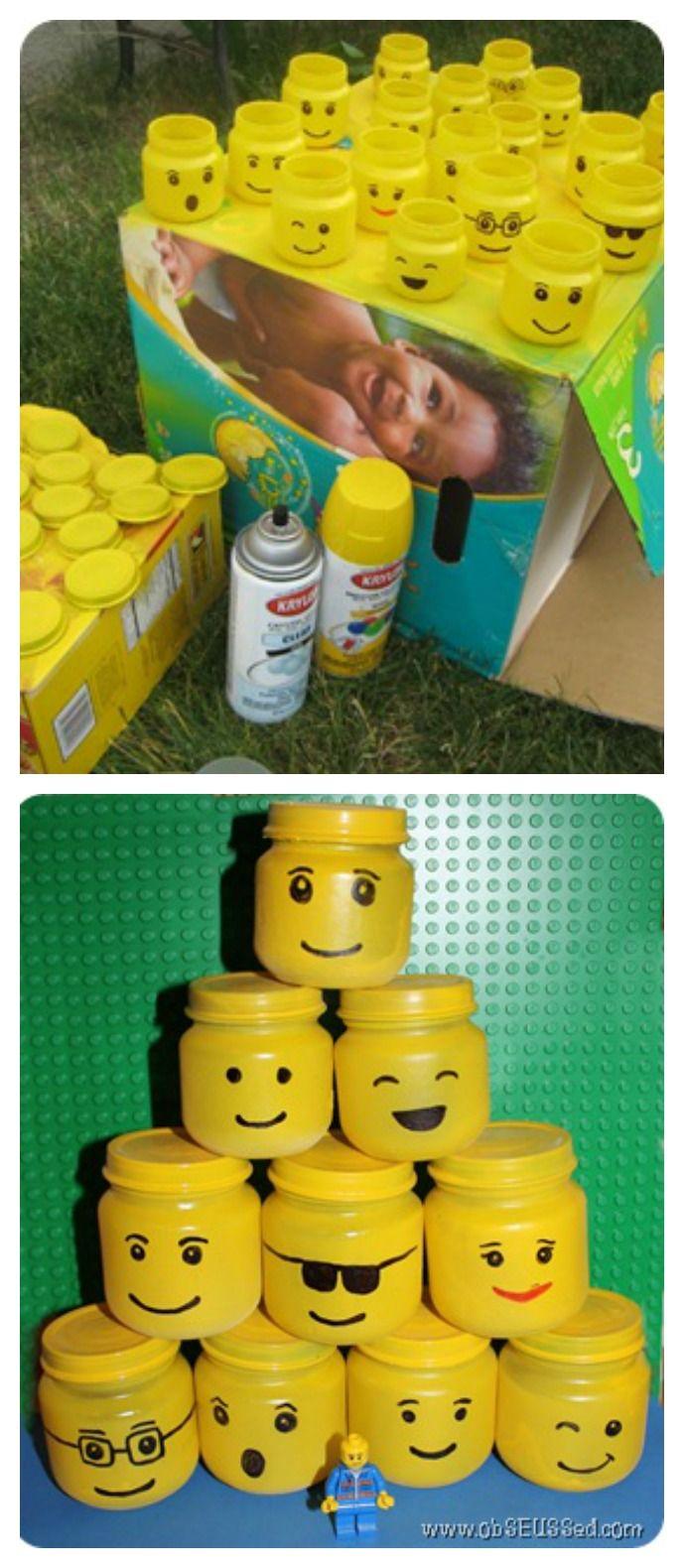 Anniversaire enfant thème Lego. A remplir de bonbons ou de petits cadeaux pour les invités.