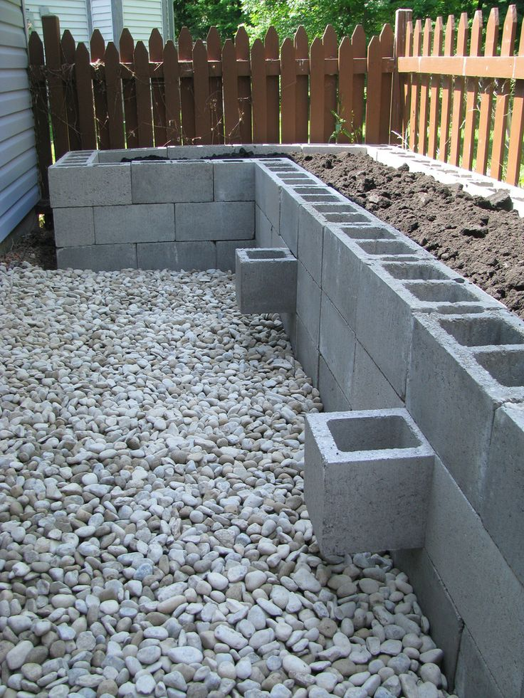 my raised bed garden, made from cinder blocks                                                                                                                                                     Mais