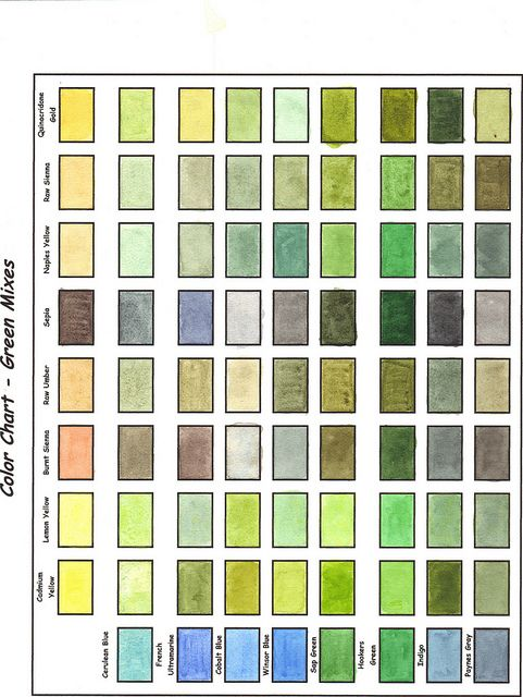 color chart greens