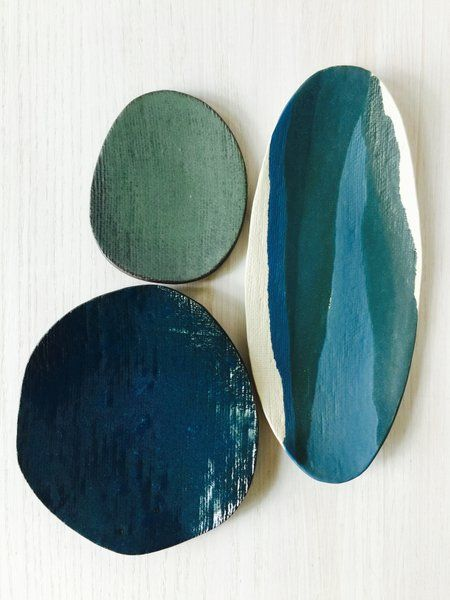Image of Layered Oval Platter, Dark Teal Plate + Moss Plate (set of 3) #11
