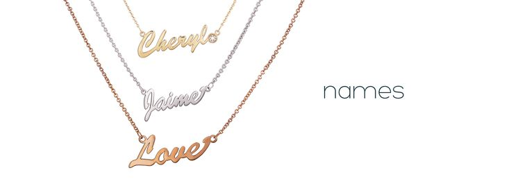 Names by me∙mi. Choose between regular or large size font. Available in silver, 9kt yellow gold or 9kt rose gold. Customise with a diamond!