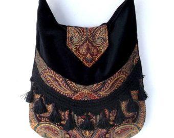 Tapestry Fringe Bag Messenger Bag Bohemian Green Velvet  Gypsy