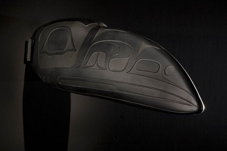 """Raven Transformation Mask (closed) by Preston Singletary, 7""""h x 5""""w x 23""""d, blown and sandcarved glass, 2007"""