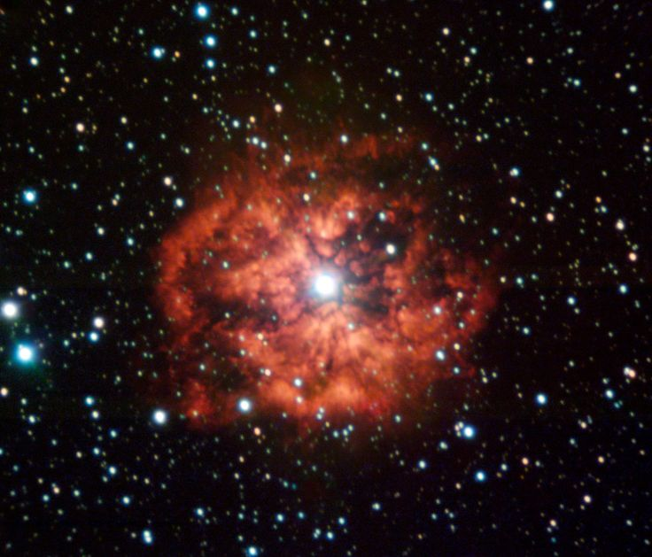m1-67 wind-nebula around WR124 photo by VLT (Very Large Telescope) through 2 wide and 3 narrow-band filters.