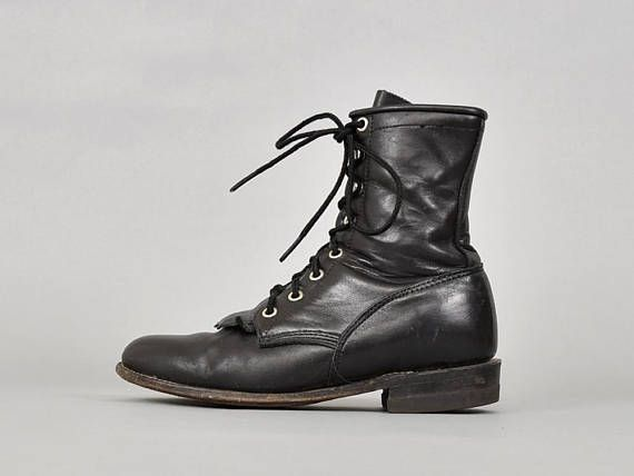 JUSTIN Leather Roper Boots US 6