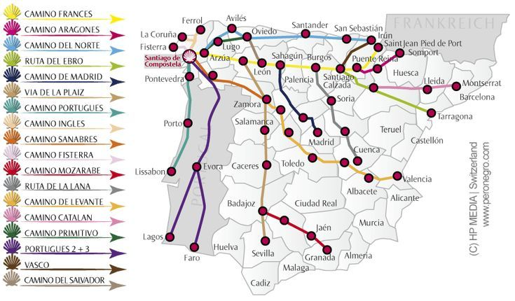 Jakobsweg Karte Die Jakobswege In Spanien Und Protugal