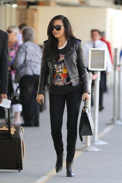 Naya Rivera in a cute rocker-chic outfit