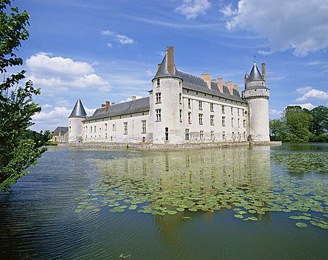 Chateau and lake, Le Plessis Bourre, Pays de la Loire, Loire Valley, France