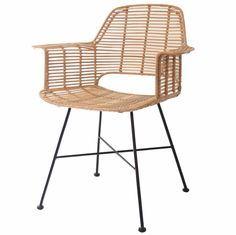 HK-living Kuip stoel rotan natural met zwart metalen frame 67x55x83cm