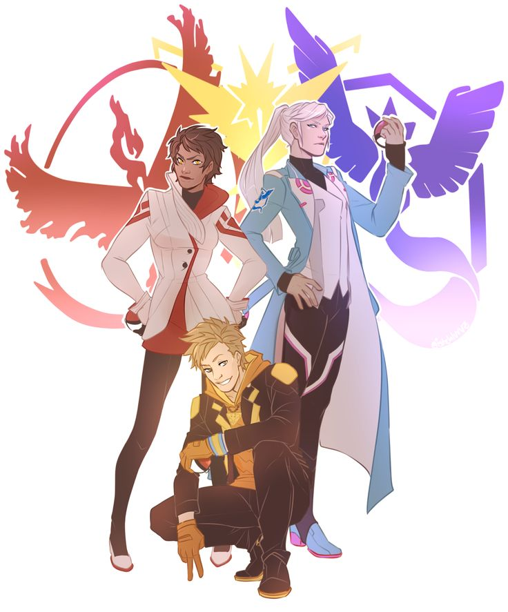 PokeGO Team Leaders by istehlurvz on Tumblr - I'm gonna stop saying I don't play Pokemon GO, cause I think I've made that clear. I just love these dorks!
