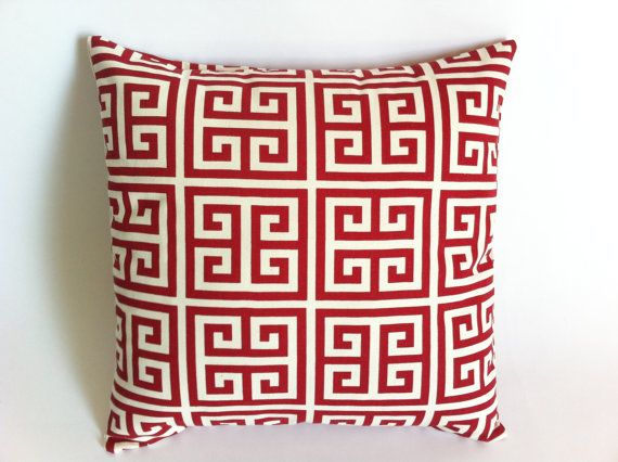 "Set of 2 Decorative Throw Pillow Covers18x18"" Red and Cream Greek Key Red Cushion Covers $32"