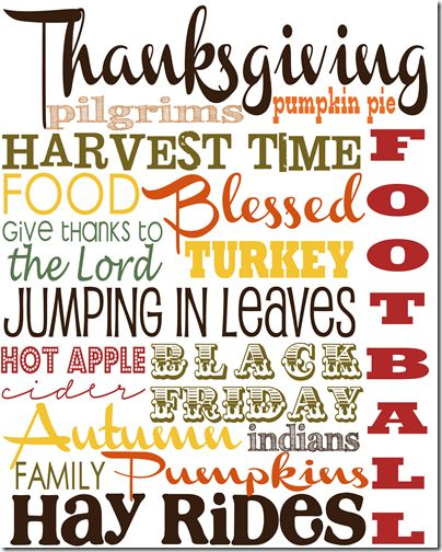 Thanksgiving Subway Art from Project Inspire {the girl creative}. Free PDF printable
