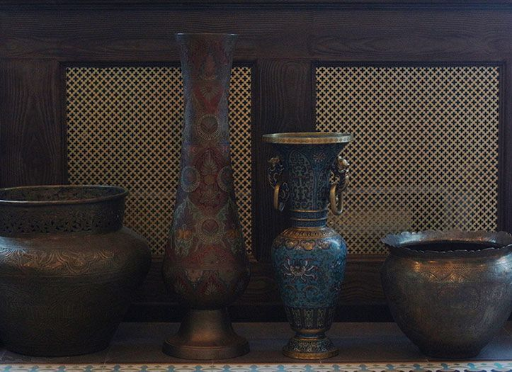 a multitude of oriental style specific brass accessories