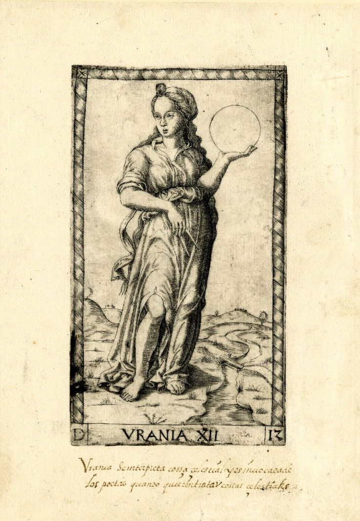 WL female figure, standing in a landscape, her head turned slightly to l; holding an orb in her l hand and a pair of dividers in her r hand; after the so-called Tarocchi Cards of Mantegna.  Engraving