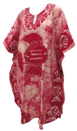 La Leela Maroon Fish Printed Batik Cotton Mid Calf Caftan Kaftan La Leela. $32.99