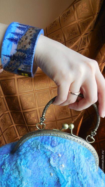 """""""Дом у леса"""".Браслет ручной росписи. - браслет с росписью,браслет летний"""