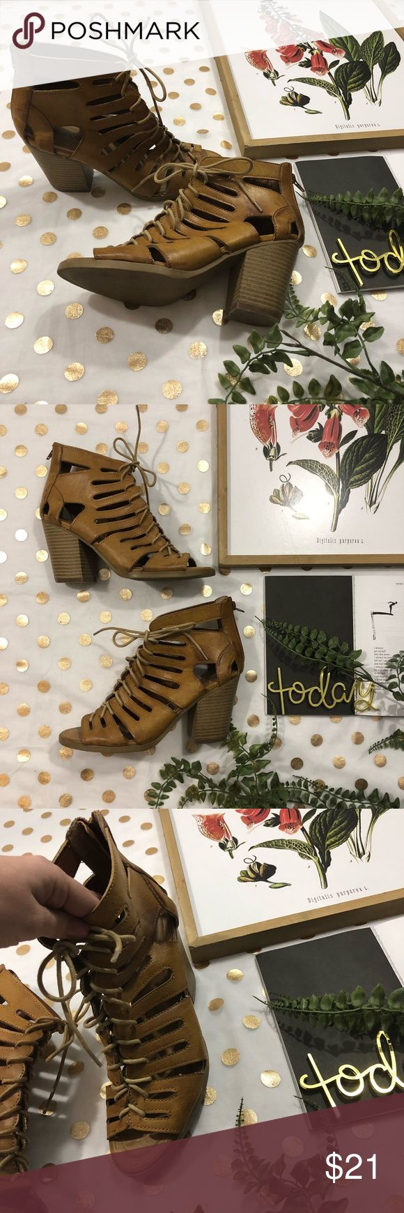 Maurice's brown  leather peep toe lace up heel 8.5 Maurice's brown faux leather lace up peep toe heels size 8.5 In good used Condition  I wore these maybe 5 times  Very comfortable heels!  Cute with jeans dresses shorts , you name it ✨   Any ? Please ask , I 💛 offers  Yes those run true to size ✨ Maurices Shoes Heeled Boots