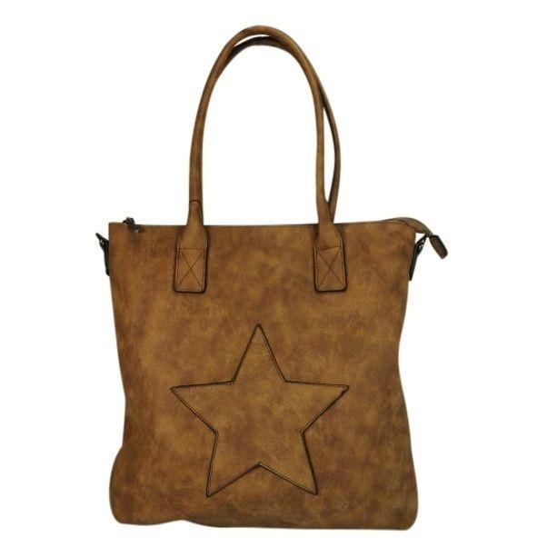 Trendy damestas shopper model met ster De tas is voor zien van een extra lange riem. 35x33x10cm kleur camel € 37.50 Nu € 29.95