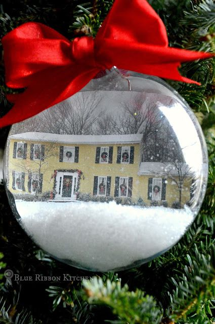 Blue Ribbon Kitchen: 'Home for the Holidays' Christmas Ornament  | Make an ornament with your home inside.  Childhood home snow globe ornament.  Keepsake