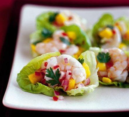 Little Gem cups with prawn & mango salsa recipe - Recipes - BBC Good Food